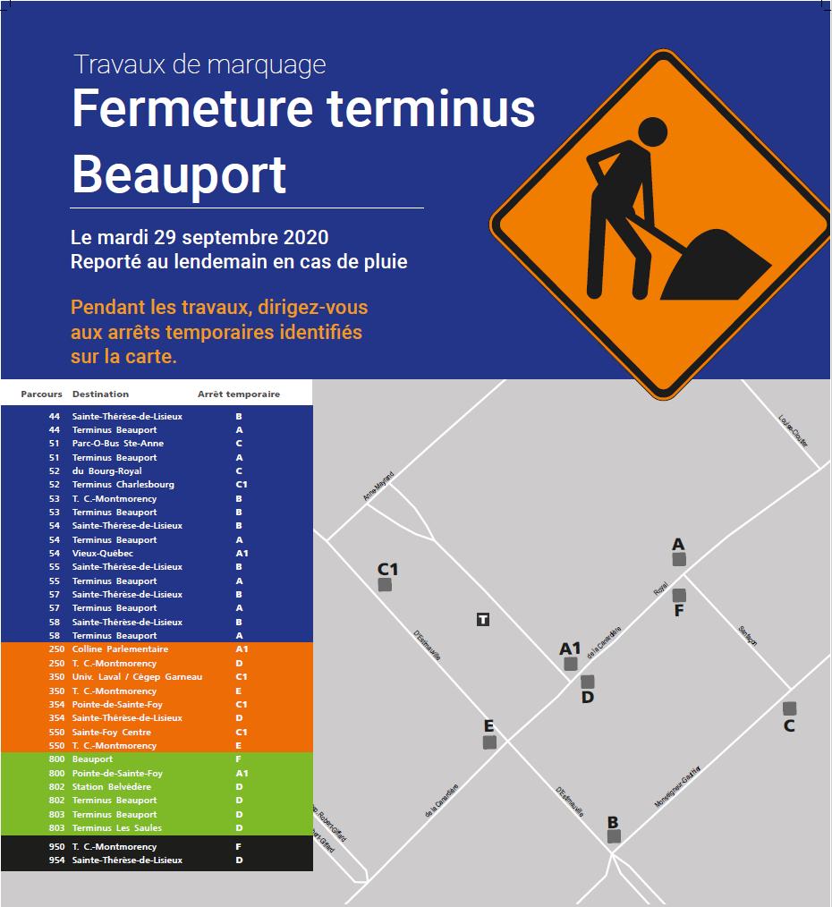 Fermeture du terminus Beauport