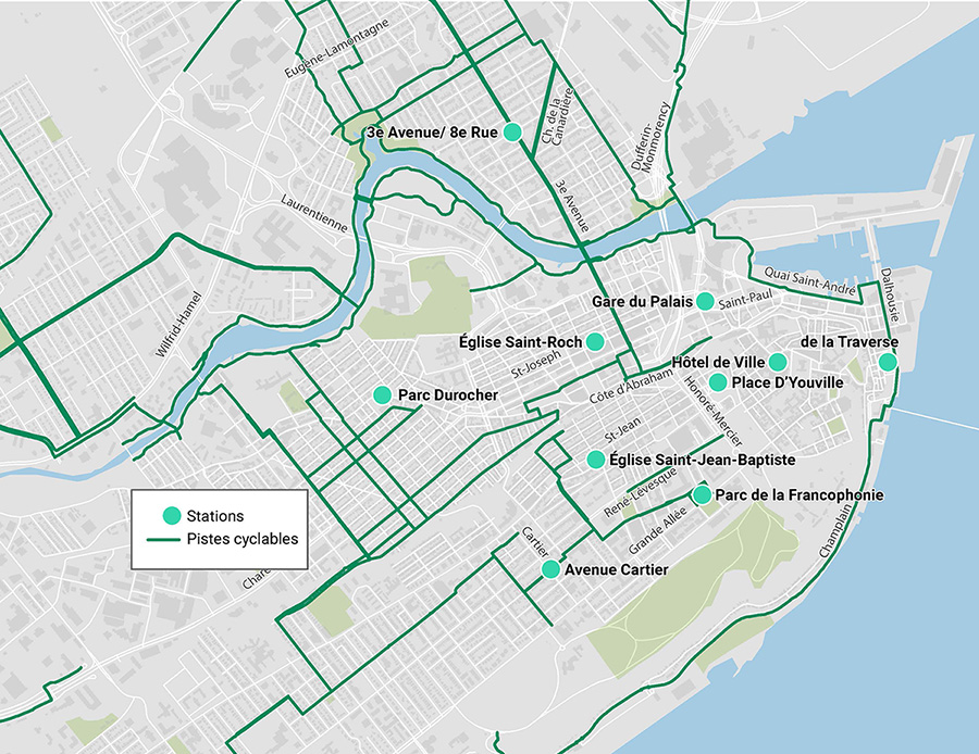 Carte des stations àVélo